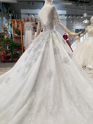Stunning Long Sleeve Beadings Wedding Dresses | 2020 Lace-up Sequins Bridal Gowns_3