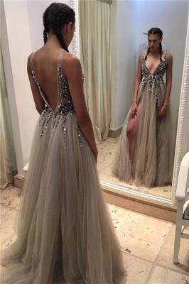 2020 Deep-V-neck Sexy Front-Slit Beadings Open-Back Tulle Prom Dresses BA4255_1