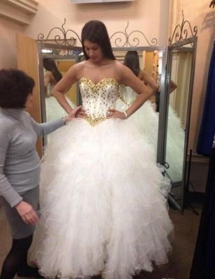 Fabulous Sweetheart Golden Crystal Wedding Dress Tulle 2020 Princess Bridal Gowns_5