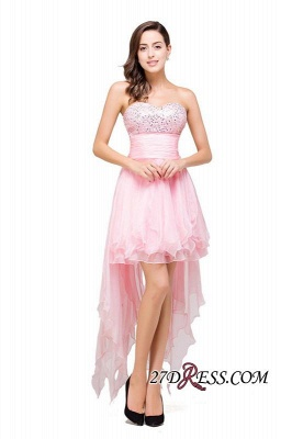 2020 Chiffon A-Line Ruffles Crystal Sweetheart Mini Homecoming Dress_7