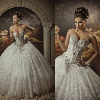 Sweetheart Lace Strapless Arabic Wedding Dresses Ball Gown Sleeveless Beaded Bridal Gowns With Sequins Crystals_2