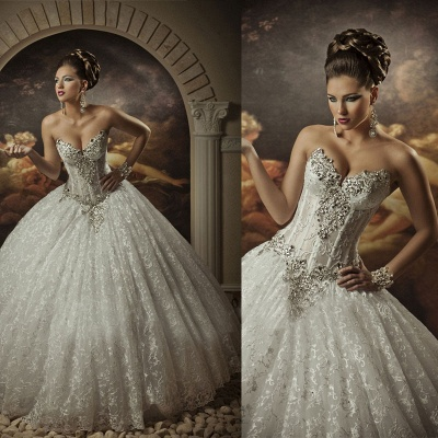 Sweetheart Lace Strapless Arabic Wedding Dresses Ball Gown Sleeveless Beaded Bridal Gowns With Sequins Crystals_1