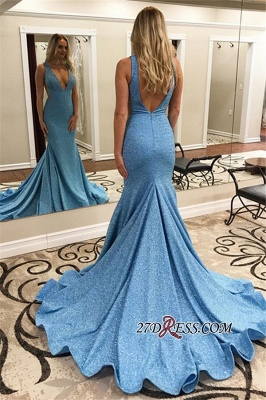 V-neck Mermaid Backless Sweep-Train Sexy Evening Dresses_1