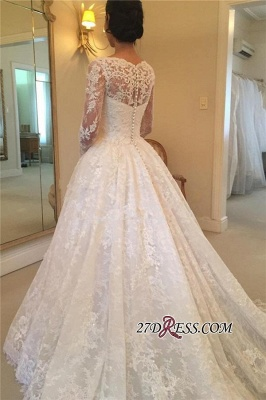 Elegant Puffy Lace Buttons Squared Long-Sleeve Court-Train Wedding Dress_1