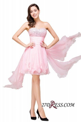2020 Chiffon A-Line Ruffles Crystal Sweetheart Mini Homecoming Dress_4