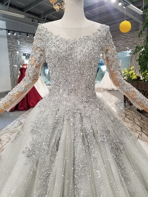 Stunning Long Sleeve Beadings Wedding Dresses | 2020 Lace-up Sequins Bridal Gowns_5