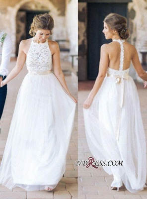 Simple Floor-length Sashes Lace White Halter A-line Wedding Dress BA3987_2
