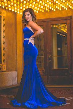 Velvet Backless Royal-Blue Mermaid Charming Crystals-Belt Sweetheart Prom Dress BA7608_2