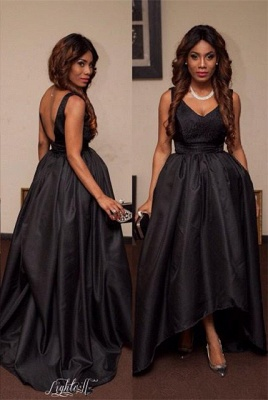 Sexy Black V-Neck Sleeveless Prom Dresses 2020 Hi-Lo Tail Party gown_1
