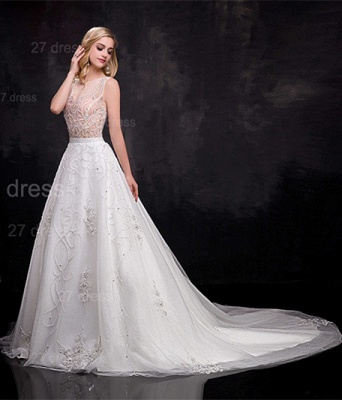 Delicate Sleeveless A-line Wedding Dress Beadings Court Train_2