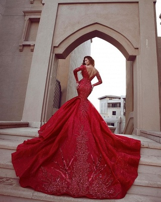 Gorgeous Red Long Sleeve Prom Dresses | 2020 Mermaid Lace Appliques Evening Gowns BC0669_2