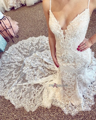 Amazing V-neck Mermaid Spaghetti-Straps Wedding Dresses_2