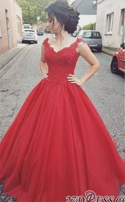 Tulle Lace-up Lace Straps Modern Red Prom Dress BA4632_2