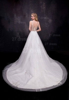 Delicate Sleeveless A-line Wedding Dress Beadings Court Train_3