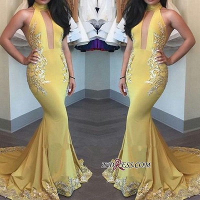 2020 Yellow Keyhole High-Neck Appliques Mermaid Beautiful Evening Dress BA4288_1