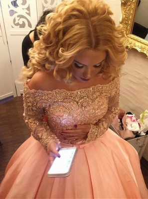 Ball-Gown Off-the-Shoulder Gold-Lace Bowknot Long-Sleeves 2020 Prom Dresses ly160_4