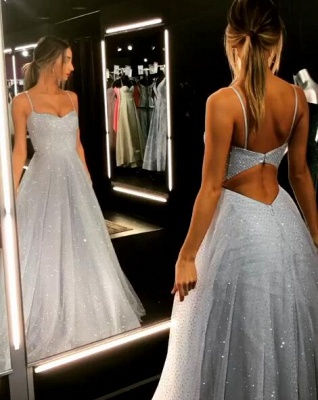 Gorgeous Spaghetti-Strap Long Prom Dresses | 2020 Sequins Icy Blue Beaded Evening Gowns BC1020_1