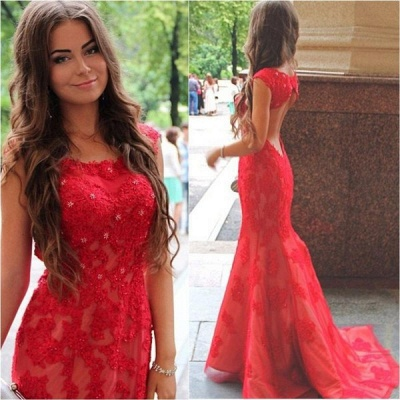 Sexy Red Lace Appliques Mermaid Evening Dress 2020 Sweep Train Jewel_3