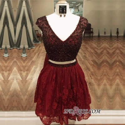 Cap-Sleeve Delicate Two-Piece Beading Lace Short Homecoming Dress_3