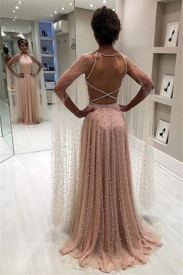 Pink Sheer-Tulle Backless A-Line Prom Gown | Elegant Beading Long Sleeves Prom Dress_6