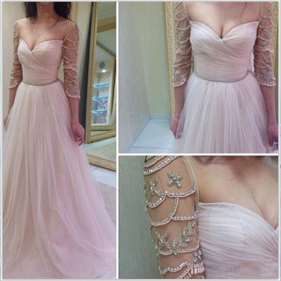 Elegant 3/4 Length Sleeve 2020 Prom Dress Long Tulle With Diamonds_3