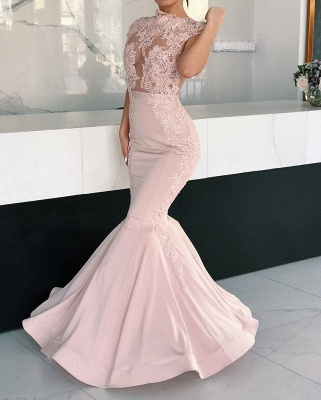 Gorgeous Cap Sleeve Pink Evening Dresses | 2020 Mermaid Lace Prom Dress BC1725_2