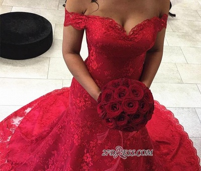 Red Sexy Lace Court-Train Mermaid Off-the-shoulder Evening Dresses_2