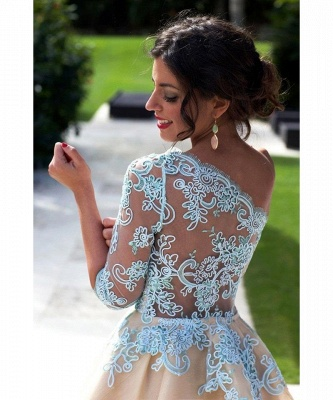 Charming One Shoulder Blue Lace Homecoming Dress 2020 New Arrivals Short Prom Dress_5