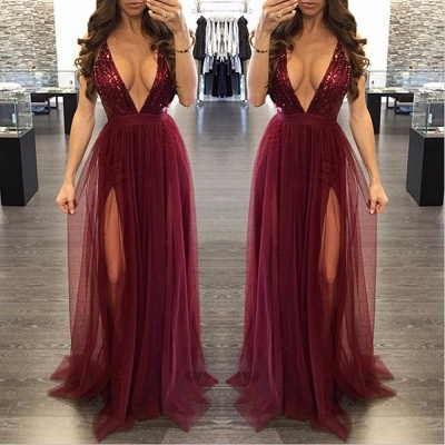 Sexy Burgundy V-neck Sequined Formal Dress | 2020 Deep V-neck Prom Dress_2