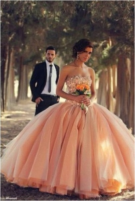 Pink Sexy Tulle Ball Gown Wedding Dresses 2020 Sweetheart Vestidos De Novia Pleated Bridal Gowns With Rhinestones_1