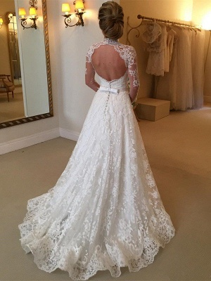 Gorgeous High Neck Long Sleeves Wedding Dress | Princess Lace Bridal Gowns With Ribbon_3