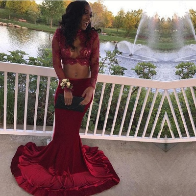 Sexy Two Pieces Burgundy 2020 Prom Dress Long Sleeve With Lace Appliques Mermaid BA7708_5