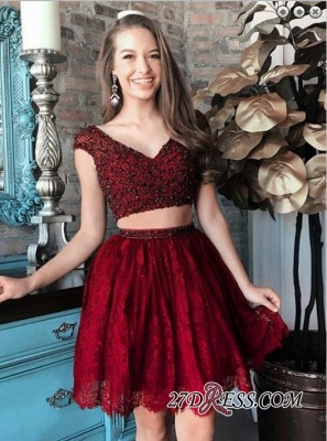 Cap-Sleeve Delicate Two-Piece Beading Lace Short Homecoming Dress_4
