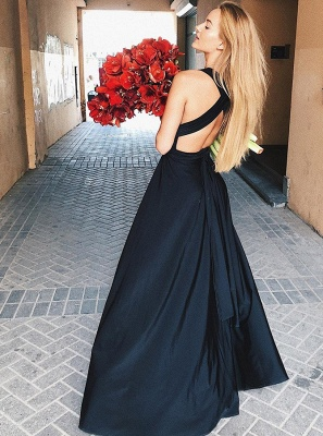 2020 Sexy Black Deep V Neck Sleeveless Floor-Length Evening Gown | A-Line Front Split Cross Straps Prom Dress_2