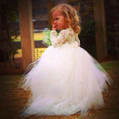Newest Long Sleeve Tulle Flower Girl Dress With Lace_1
