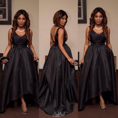 Sexy Black V-Neck Sleeveless Prom Dresses 2020 Hi-Lo Tail Party gown_3