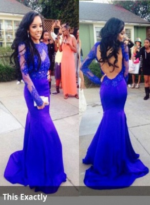 Lace Mermaid Long Sleeves Prom Dresses 2020 Royal Blue Open Back Floor Length Evening Gowns_1