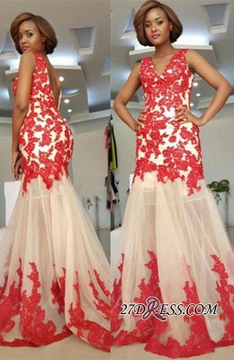 Sleeveless Straps Lace-Appliques Mermaid Modest Backless Prom Dress_2