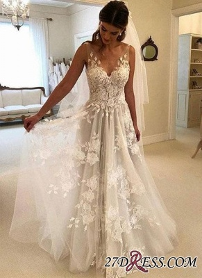 V-Neck Princess Wedding Dresses | 2020 Bridal Gowns With Appliques_3