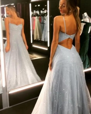 Gorgeous Spaghetti-Strap Long Prom Dresses | 2020 Sequins Icy Blue Beaded Evening Gowns BC1020_5