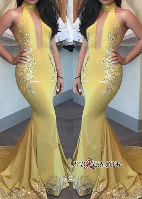 2020 Yellow Keyhole High-Neck Appliques Mermaid Beautiful Evening Dress BA4288_2
