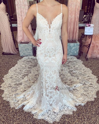 Amazing V-neck Mermaid Spaghetti-Straps Wedding Dresses_1