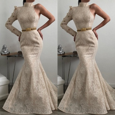Elegant High-Neck Lace Prom Dresses | 2020 Mermaid Long Sleeve Evening Gown_2