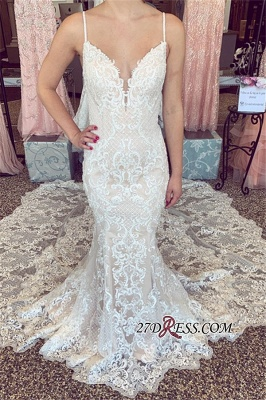 Amazing V-neck Mermaid Spaghetti-Straps Wedding Dresses_3