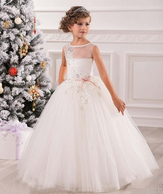 Lovely Princess Sleeveless Puffy Tulle Flower Girl Dress_2