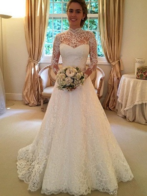 Gorgeous High Neck Long Sleeves Wedding Dress | Princess Lace Bridal Gowns With Ribbon_1