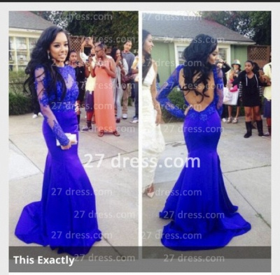 Lace Mermaid Long Sleeves Prom Dresses 2020 Royal Blue Open Back Floor Length Evening Gowns_2