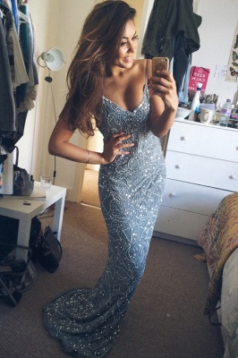Stunning Spaghetti Starps 2020 Prom Dresses Long Beadings Appliques Party Gowns_1