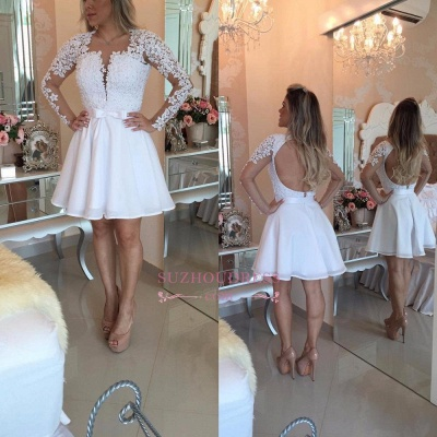 White Lace Long Sleeve Homecoming Dresses Short 2020 BC0724_1