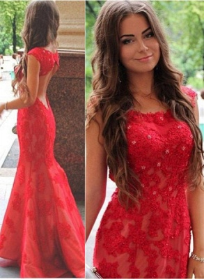 Sexy Red Lace Appliques Mermaid Evening Dress 2020 Sweep Train Jewel_2